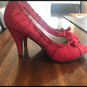 Red Fabric Mossimo Heels Size 8